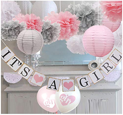 luckylibra Baby Girl Baby Shower Decorations, It is a Girl Banners and Paper Lantern Paper Flower Pom Poms (Pink White Grey) -