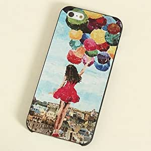 New Painted Various Pattern Phone Hard Back Skin Case Cover for IPhone4 4S 5 5S (BJD135-28 balloon girl for Iphone4 4S)