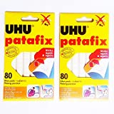 2 Packs UHU Patafix Adhesive Putty Tabs Removable/Reusable Nontoxic 2.12 oz (80 Pads/Pack)