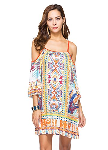 Totem Print Floral Mini Dress (White) - 5