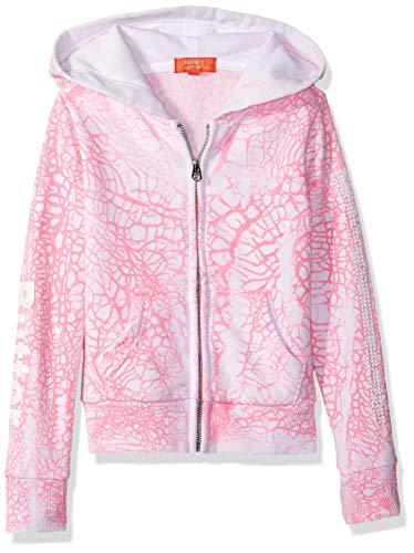 Butter Girls' Little Crackle Wash Sleece Zip Hoodie, Coral, 5