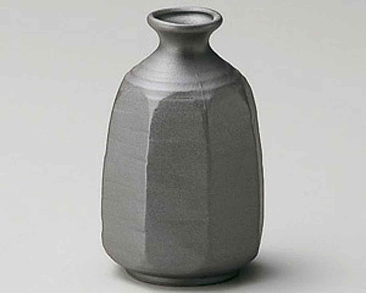 Octagon 2.8inch Sake carafe Black Ceramic Made in Japan