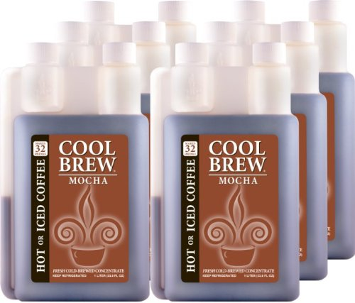 Cool Brew Fresh Coffee Concentrate - Mocha 6x1 Liter - Make Iced Coffee or Hot Coffee - Enough for over 200 drinks