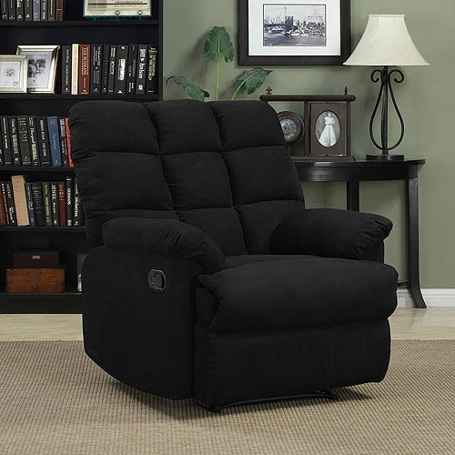Prolounger Wall Hugger Microfiber Biscuit Back Recliner, Black by ProLounger by Prolounger