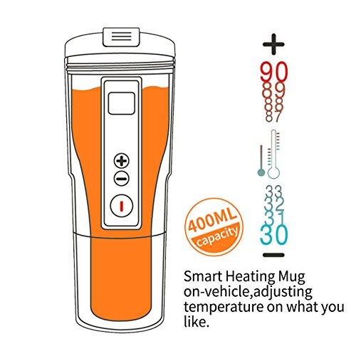 6e2dea3f834 Smart Temperature Control Travel Coffee Mug Eastmount Electric heated  Travel Mug 12V Stainless Steel Tumbler Smart Heating Car Cup Keep Milk Warm  LCD ...