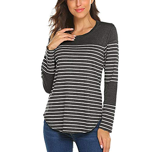 TOOPOOT Womens Crewneck Top Striped Patchwork Sweathirts Tunic Long Sleeve ()