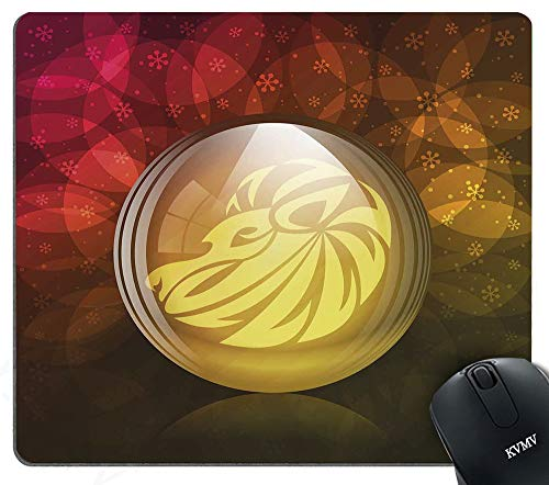 Gaming Mouse Pads Translucent Snow Globe with Zodiac Sign Leo on Floral Background Mouse pad for Notebooks,Desktop Computers Mini Office Supplies Non-Slip Mouse Mats 600mm400mm ()