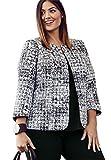 Jessica London Women's Plus Size Printed Collarless Blazer Black White