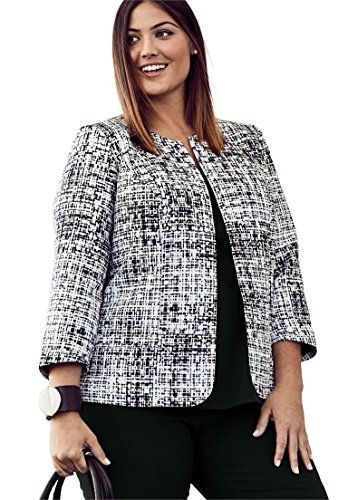 Fully Lined Tailored Blazer (Jessica London Women's Plus Size Collarless Blazer Black White Graphic,20 W)