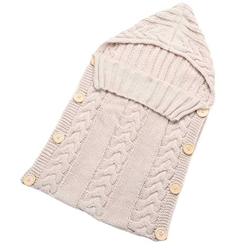 [Baby Sleep bag,Elaco Newborn Baby Hood Button Knitting Sleeping Bag 0-3 Months (Beige)] (0-3 Month Swimming Costumes)