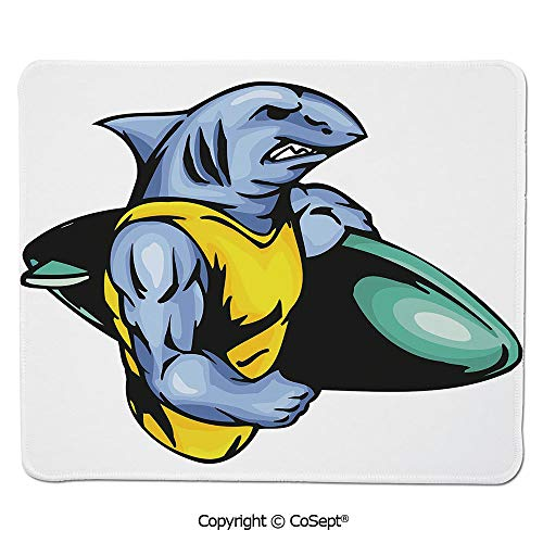 (Premium-Textured Mouse pad,Grumpy Surfer Shark with Muscled Body Exotic Sports Mascot Cartoon Decorative,for Computer,Laptop,Home,Office & Travel(11.81