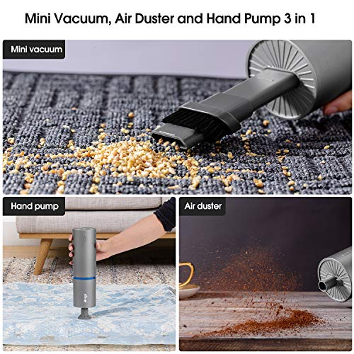 Brigii Mini Vacuum, Air Duster and Hand Pump 3 in 1, Small Cordless Handheld Vacuum, USB Rechargeable, Easy to Clean Desktop, Keyboard, Drawer, Car Interior and Other Crevices, Small Spaces -Y120 Pro
