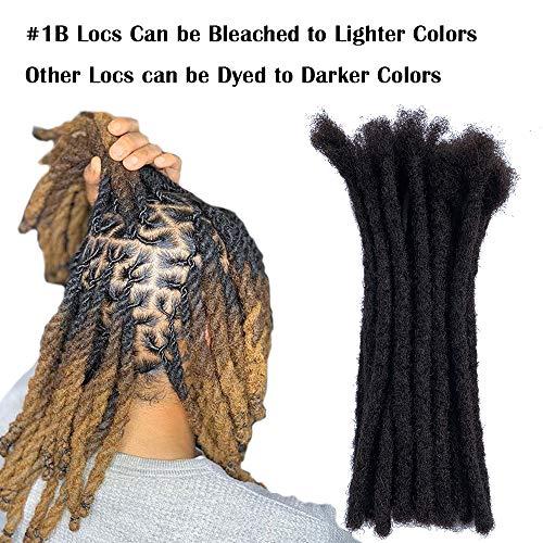 YONNA 100% Human Hair Medium Size (0.8cm Width) Dreadlocks Extensions 20Locs Full Handmade 8inch Natual Black #1B