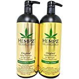 Hempz Pure Herbal Extracts Original Herbal Shampoo & Conditioner 33.8oz for Damaged and Color Treated Hair Bundle