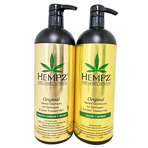 Hempz Pure Herbal Extracts Original Herbal Shampoo & Conditioner 33.8oz for Damaged and Color Treated Hair Bundle by Hempz