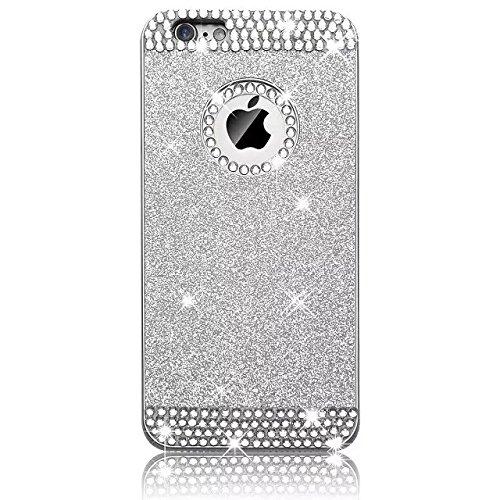Vandot Diamant Strass Housse Coque Case Cover PC le Plastique Etui pour Apple Iphone 5 5S Protection Coque Haute quality Fashion Design Hard Back Bing Couvrir Couverture - Argent Silver