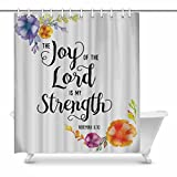 InterestPrint Religious Christian Bible Verse Joy Of The Lord Waterproof Shower Curtain Decor Fabric Bathroom Set with Hooks, 72(Wide) x 84(Height) Inches