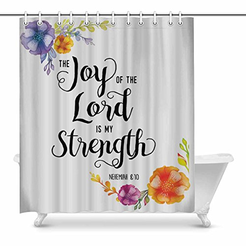 InterestPrint Religious Christian Bible Verse Joy Of The Lord Waterproof Shower Curtain Decor Fabric Bathroom Set with Hooks, 72(Wide) x 84(Height) Inches by InterestPrint