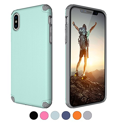 Mint 1809 - Armor iPhone X case with Air Cushion Technology and Drop Protection.Protective iPhone 10 case Shock Absorption Secure Grip Anti-Scratch and Hybrid Slim for Apple iPhone X (2017) - Mint Green&Grey