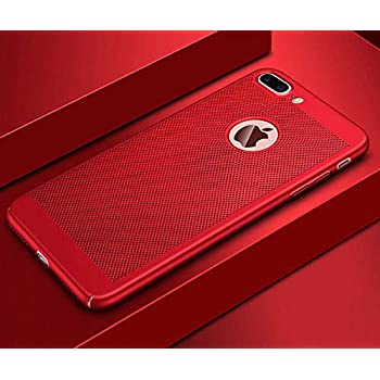 VIVICOM Breathable Ultra Slim Thin Case for iPhone 7 Plus / 8 Plus, Hard Plastic Full Protective Anti Fingerprint Breathing Cover (Red)