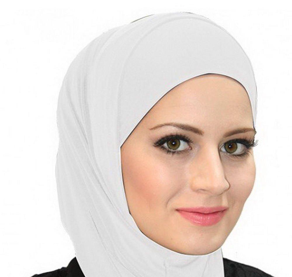 White Al Ameera Muslim Hijab Cotton Amira 2 Piece Hood & Hijab Tube Underscarf Cap