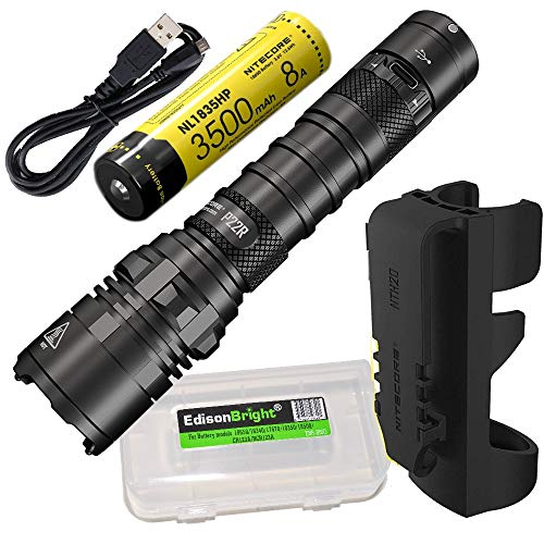 Nitecore P22R 1800 Lumen USB-C Rechargeable Strobe Ready Tactical Flashlight, battery, duty holster with EdisonBright Battery Case bundle