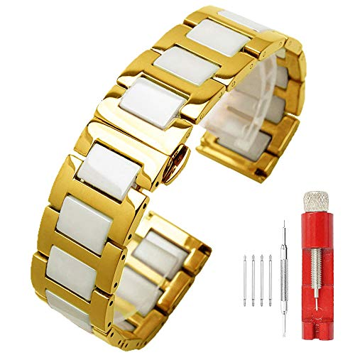 18mm Girls' Watch Band Gold White Ceramic Watch Strap Stainless Steel Solid Watch Bands Metal Polished Deployment Clasp Watch Wrist Bands for ()