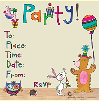 Rachel Ellen Set of 8 Childrens Party Invitations Woodland