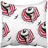 Starohou Throw Pillow Cover 18''X18'' Polyester White Beautiful with Colorful of Girl in Hat On Beach Modern Style Pattern Fills Beauty Decorative Pillowcase Two Sides Print for Home
