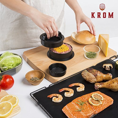 Burger Press Kit with Grill Mat - Burger Chef by Krom - Exclusive Online Videos with Recipes - Non-Stick 3-in-1 Stuffed Burger Mold for Hamburgers and Sliders - Includes 50 Wax Patty Papers
