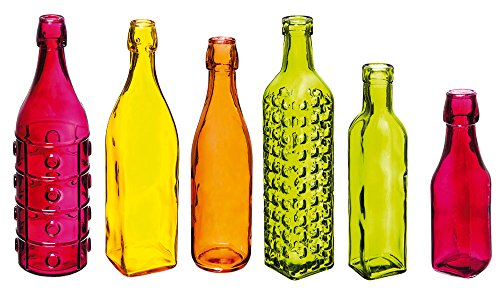 (Evergreen Decorate Your Garden Colorful Glass Bottles, Set of 6)