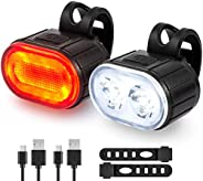 Bright Bike Lights Set, USB Rechargeable 2 LED Front and Back Rear Bicycle Light Combo, IPX5 Waterproof Mounta