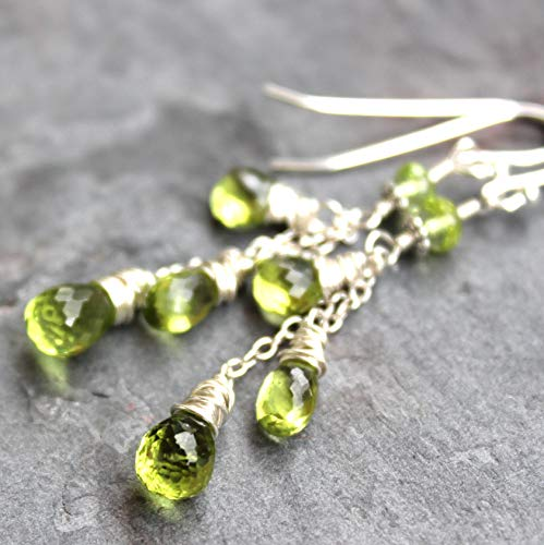 Dangling Peridot Earrings Sterling Silver Gemstone Cascade August Birthstone