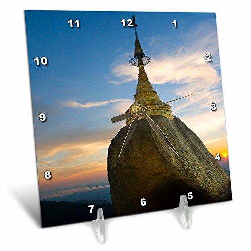 nt - Temples - Kyaiktiyo Pagoda, Gold Rock, at sunset, Mon State, Myanmar - 6x6 Desk Clock (dc_276696_1) ()