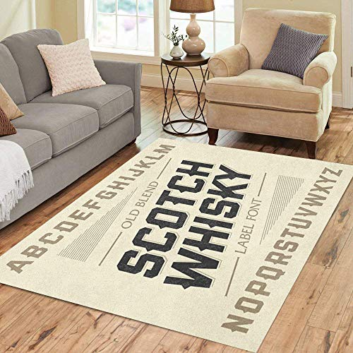 Pinbeam Area Rug Western Scotch Whiskey Label Alphabet Beer Old Bar Home Decor Floor Rug 3' x 5' Carpet ()