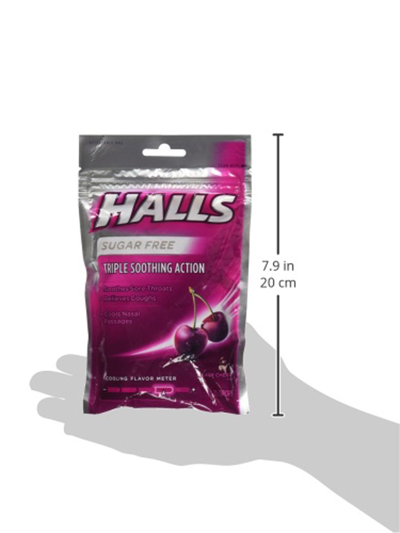 halls cos5 sugar free black cherry flavor of triple soothing action fast relief cough. Black Bedroom Furniture Sets. Home Design Ideas