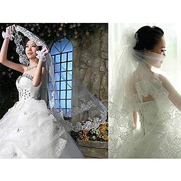Fablcrew Brautschleier Bridal T/üll mit Kamm Schleier Ribbon Edge Size 150cm*150cm Stil 1