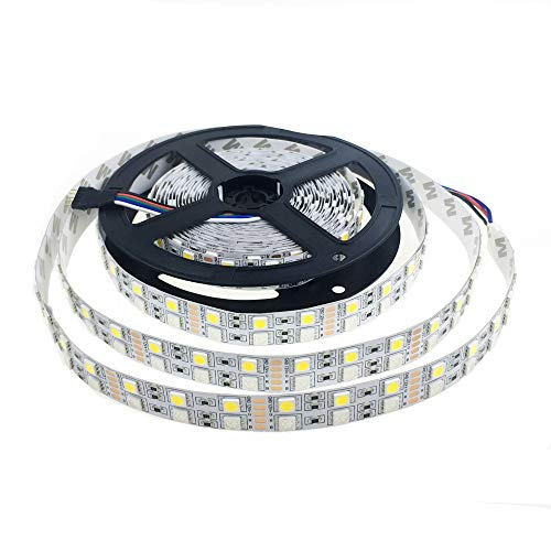 Alarmpore (TM) 16.4FT Double Row 5050 RGBWW RGB Warm White LED Strip 5M 600Leds SMD Flexible Light 120Leds/M 12V DC Non-waterproof