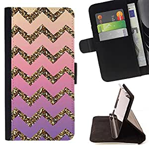For Sony Xperia Z2 D6502 Gold Bling Pattern Stripe Beautiful Print Wallet Leather Case Cover With Credit Card Slots And Stand Function