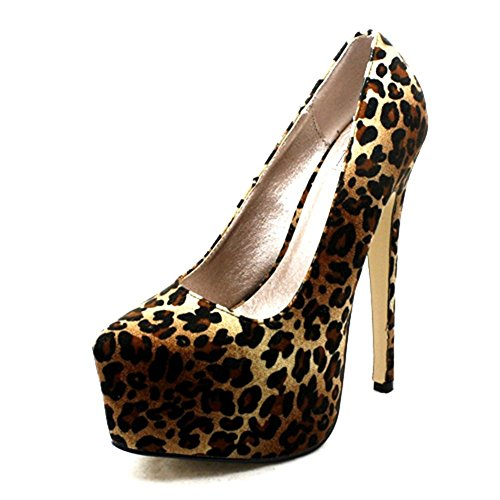SendIt4Me Womens Mega Platform Killer High Heel Court Shoes Leopard 5JMYnt3kiy