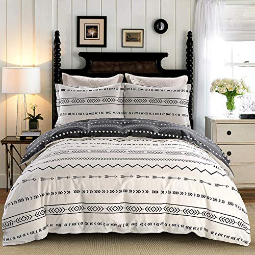 JUCFHY Duvet Cover Set Queen/Full Size Stripe,100% Cotton Tuscan Bedding,Black and White Chevron Geometric Modern Pattern Printed,Reversible with Zipper Closure,Corner Ties (3pcs, Queen/Full Size) (Duvet Chevron Queen)