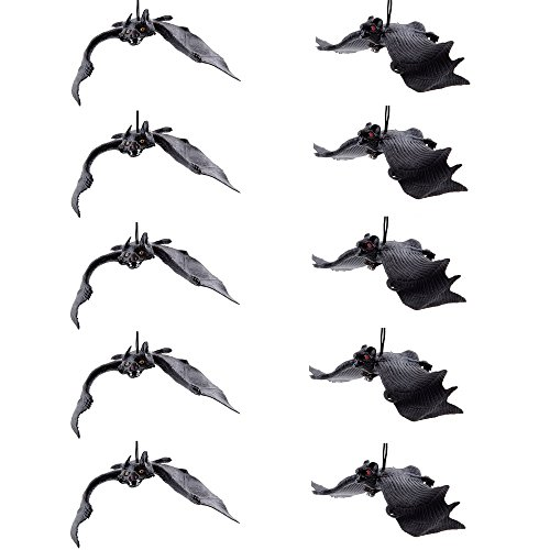Set of 10 Halloween Décor Realistic Looking Spooky Hanging Bats for Best Halloween Party Favors and (Bat Halloween Decorations)