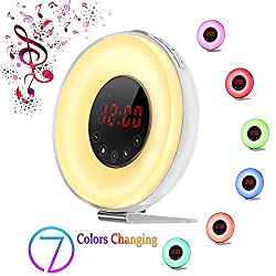 Upgrated Wake-up Light Alarm Clock, Weton Kids Alarm Clock Colored Sunrise/Sunset Simulation Natural Sounds with FM Radio &Smart Snooze Function