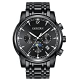 KASHIDUN Men's Mechanical Watch Sporty Watches Casual Army Sports Fan Watch Dial Steel Band-Black.TL6-QH