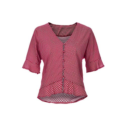 (ERLOU Women T Shirt, Summer Camis Ruffle Button Polka Dot Casual Blouse Tunic Tank Tops Fashion 2019❤ (Red, L))