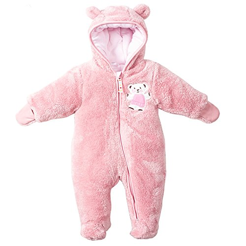 - LJ Unisex-Baby Hoodie Footed Fleece Pram Snowsuit Light Pink 0-3month