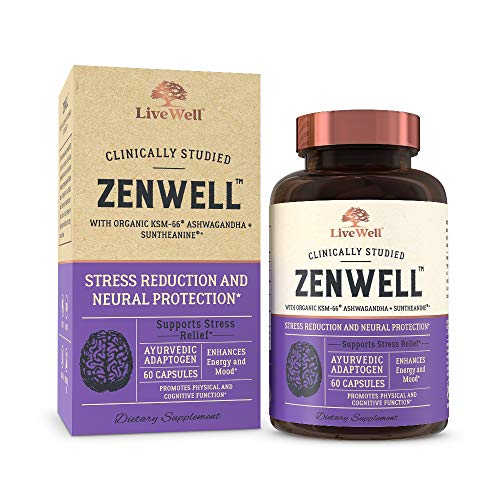 Ashwagandha 60 Capsules - ZenWell - Organic Ashwagandha with KSM-66 | Clinically Studied Stress Reduction and Neural Protection (60 Capsules)