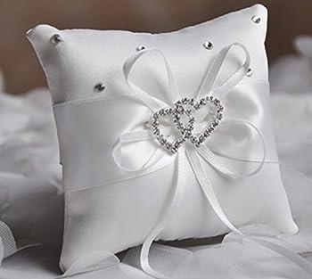 SPHTOEO Wedding Ring Satin Diamante Flower Pillow, 20x20cm, White