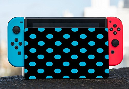 Blue Teal Polka Dot Polka Dots Black Background Nintendo Switch Dock Vinyl Decal Sticker Skin by Moonlight Printing