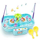 QUN FENG Fishing Game Toys Water Tables Fishing Game for Toddlers with Music Swirl Water Pond and Fish Pole Funny for Toddlers and Kids(Blue)